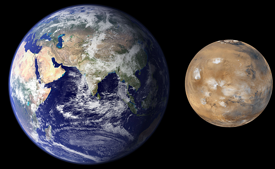 Southwest Research Institute scientists developed a new process in planetary formation modelling that explains the size and mass difference between the Earth and Mars. Mars is much smaller and has only 10 percent of the mass of the Earth. Conventional solar system formation models generate good analogues to Earth and Venus, but predict that Mars should be of similar-size, or even larger than Earth. Image credit: NASA/JPL/MSSS.