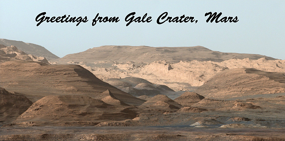 """This Martian """"postcard"""" comes after NASA's Mars Curiosity rover drilled its eighth hole on the Red Planet. This composite image looking toward the higher regions of Mount Sharp was taken on 9September 2015. In the foreground — about 2miles (3kilometres) from the rover — is a long ridge teeming with hematite, an iron oxide. Image credits: NASA/JPL-Caltech/MSSS."""