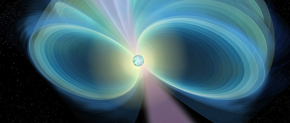 An artist's impression of a pulsar with its surrounding magnetic field (blue lines). Image credit: Russell Kightley.