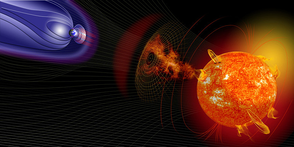 Solar flares can provoke geomagnetic perturbations to the Earth. Image credit: NASA.
