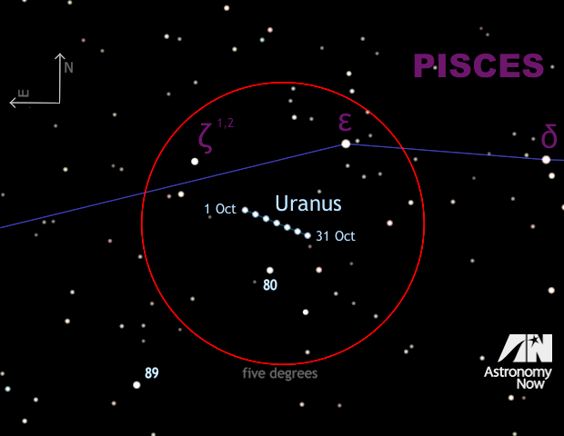This five-times enlargement of the naked-eye finder chart for Uranus shows stars down to magnitude +9, making it ideal for binocular and small telescope users. As before, the red circle is five degrees in diameter and shows the field of view of a typical 10x50 binocular. The 1.2-degree-long retrograde track of magnitude +5.7 Uranus throughout October 2015 is shown, with the planet's position marked at five-day intervals. Star zeta (ζ) Piscium is an attractive double star for small telescopes with a 23-arcsecond separation. Click the graphic for a greyscale version suitable for printing and taking outside. AN graphic by AdeAshford.