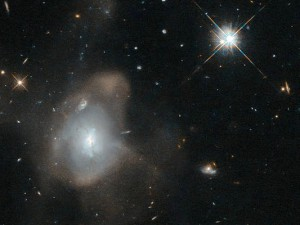 LEDA 3087775, also known as 2MASX J16270254+4328340, is a faint and diffuse elliptical galaxy. It lies approximately 500 million light-years away in the constellation Hercules. Image credit: ESA/Hubble & NASA, Acknowledgement: Judy Schmidt.