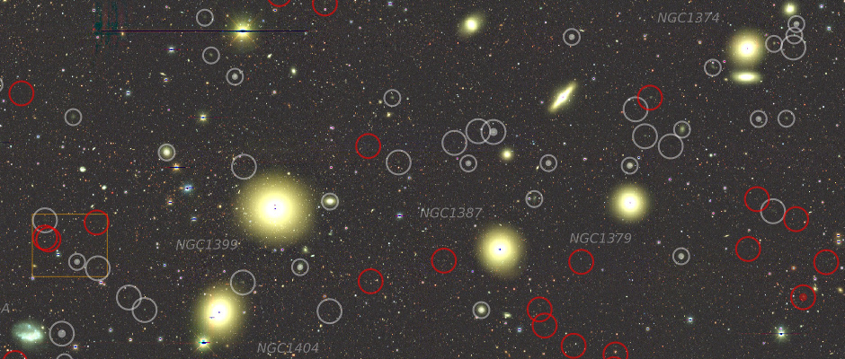 """Image of the inner 3 square degrees of the Next Generation Fornax Cluster Survey (NGFS) footprint compared with the size of the Moon. Low surface brightness dwarf galaxies are marked by red circles. Gray circles indicate previously known dwarf galaxies. The dwarf galaxies, which vastly outnumber the bright galaxies, may be the """"missing satellites"""" predicted by cosmological simulations. Image credit: Muñoz et al. CTIO/NOAO."""