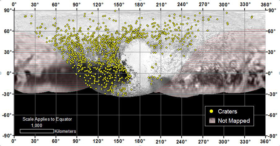 Locations of more than 1,000 craters mapped on Pluto by NASA's New Horizons mission indicate a wide range of surface ages, which likely means that Pluto has been geologically active throughout its history. Image credit: NASA/Johns Hopkins University Applied Physics Laboratory/Southwest Research Institute.