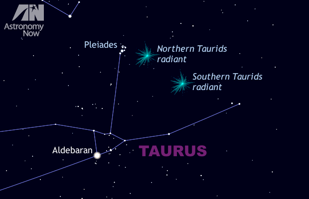 The Taurid meteor shower lasts from 20October to the end of November, but has two distinct peaks of activity occuring on 5 November (the Southern Taurids) and on 12 November (the Northern Taurids). The radiant is the point where the shooting stars appear to originate. In 2015, the Earth is encountering a swarm of larger debris emanating from Comet 2P/Encke. The last time this happened was in 2005, when a large proportion of fireballs were seen. Reports from around the world indicate that the same is happening this year. This view is about 40 degrees wide (or twice the span of an outstretched hand at arm's length) and shows the eastern sky at around 9pm local time in the UK. AN graphic by Ade Ashford/Stellarium.