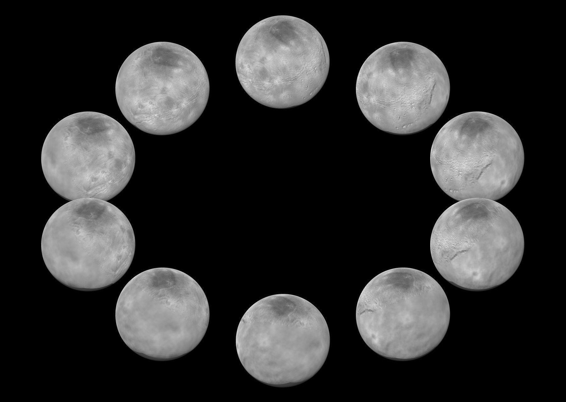 On approach to the Pluto system in July 2015, the cameras on NASA's New Horizons spacecraft captured images of the largest of Pluto's five moons, Charon, rotating over the course of a full day. The best currently available images of each side of Charon taken during approach have been combined to create this view of a full rotation of the moon. Click the image for a full-size version. Image credits: NASA/JHUAPL/SwRI.