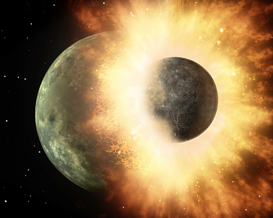 This artist's concept shows a giant impact similar to the one 4.5billion years ago that scientists think created the Earth-Moon system. Southwest Research Institute scientists combined dynamical, thermal, and chemical models of the Moon's formation to explain the relative lack of volatile elements in lunar rocks, when compared to those of Earth. Image credit: NASA/JPL-Caltech.