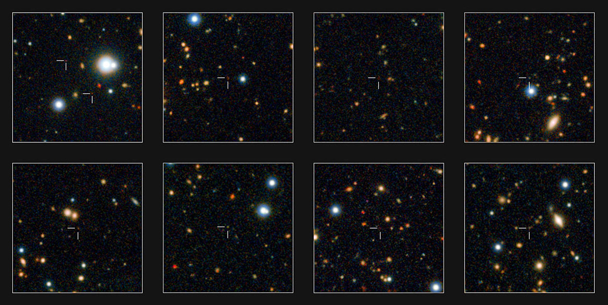 ESO's VISTA survey telescope has spied a horde of previously hidden massive galaxies that existed when the universe was in its infancy. By discovering and studying more of these galaxies than ever before, astronomers have for the first time found out exactly when such monster galaxies first appeared. A few of the newly discovered massive galaxies are shown in close-up on these small subsets of the UltraVISTA field. Image credit: ESO/UltraVISTA team. Acknowledgement: TERAPIX/CNRS/INSU/CASU.