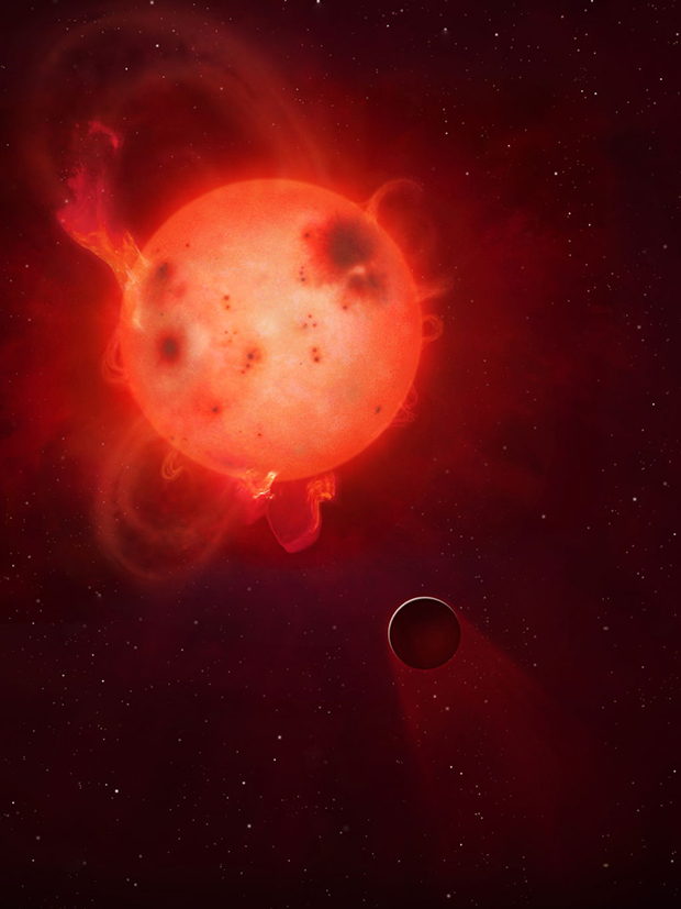 An artist's impression of Kepler-438b, a rocky world in the line of fire from coronal mass ejections from its red dwarf star. Image: Mark A Garlick/University of Warwick.