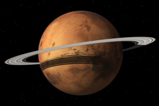 Mars will gain a ring made out of Phobos' rubble in the future. Image: Tushar Mittal/Celestia Development Team.