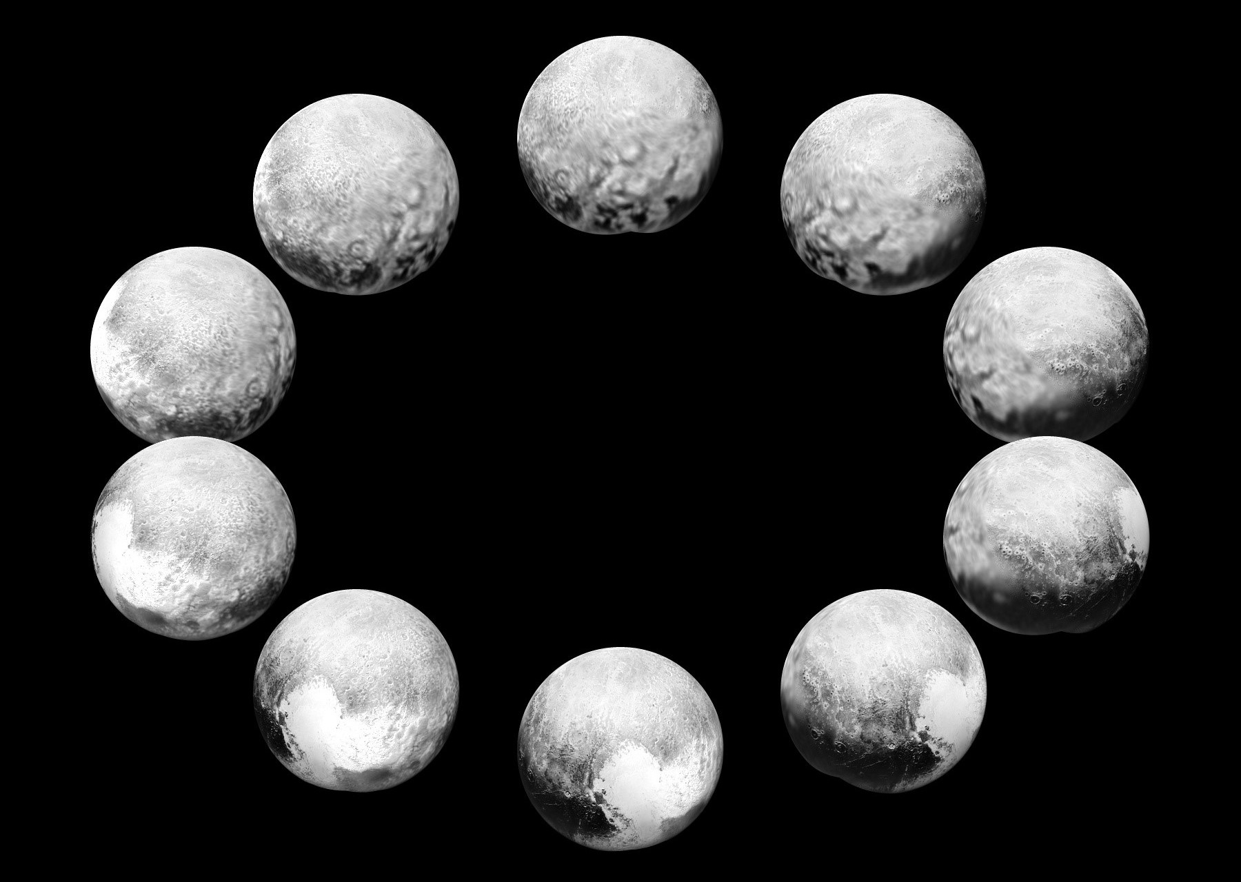 """On approach in July 2015, the cameras on NASA's New Horizons spacecraft captured Pluto rotating over the course of a full """"Pluto day."""" The best available images of each side of Pluto taken during approach have been combined to create this view of a full rotation. Click the image for a full-size version. Image credits: NASA/JHUAPL/SwRI."""