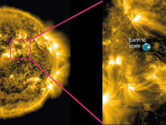 Left: An image of our Sun taken by NASA's Solar Dynamics Observatory, showing million-degree plasma being channelled into loop-like shapes by the immense magnetic fields. Right: A zoom-in of the highly magnetic region of the Sun's corona studied by Dr. David Jess and colleagues from Queen's University Belfast, Northern Ireland. Image credit: Queen's University Belfast.