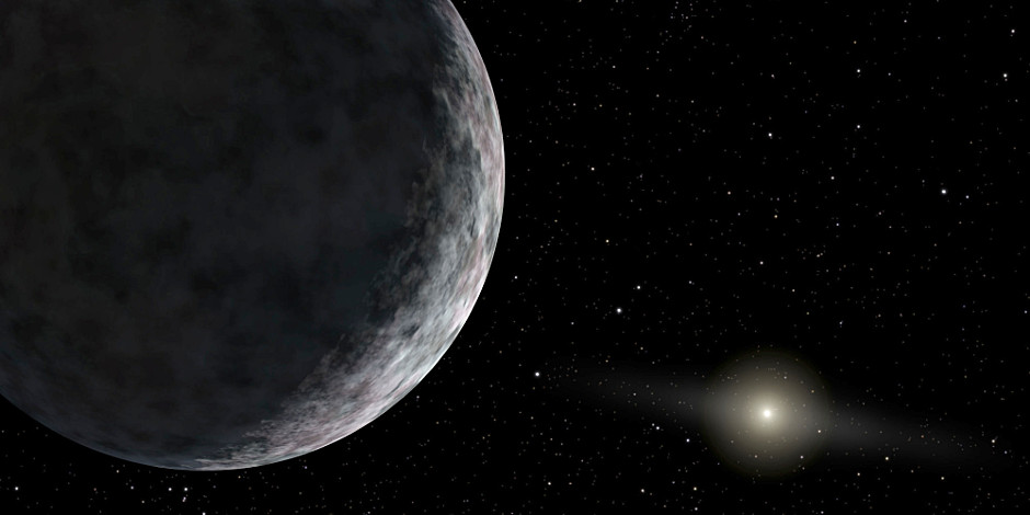 Three times farther than Pluto, V774104 may join a club of solar system objects whose orbits cannot yet be explained. Image credit: NASA/JPL-Caltech.
