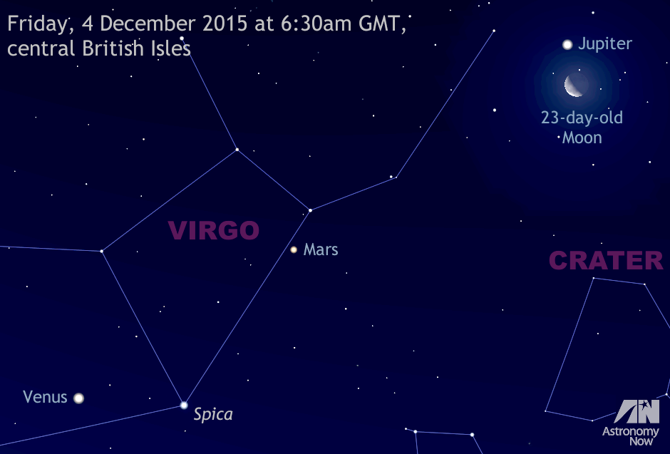 This graphic represents the south-southeast aspect of the sky on 4 December 2015 as seen from the heart of the UK around the start of nautical dawn twilight. For scale, the view is about 45 degrees wide, or two full spans of an outstretched hand at arm's length. AN graphic by AdeAshford.