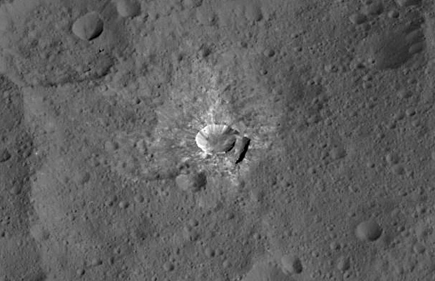 Oxo Crater, which is about 6 miles (9 kilometres) in diameter, is the second-brightest feature on Ceres. Image credits: NASA/JPL-Caltech/UCLA/MPS/DLR/IDA.
