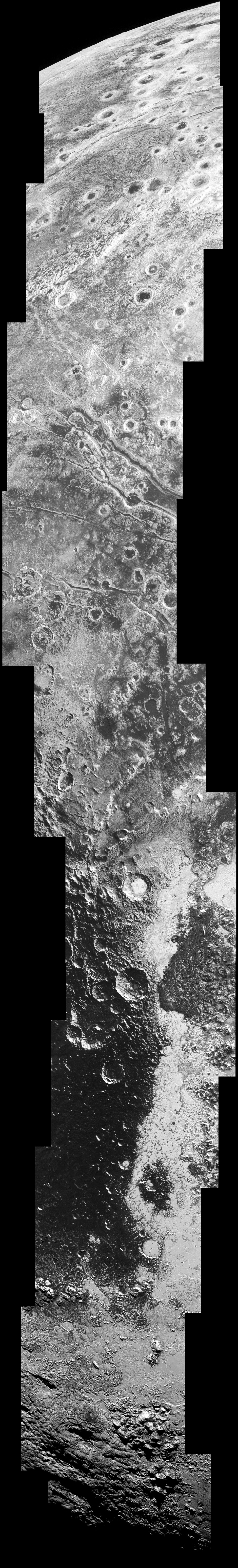 """This high-resolution swath of Pluto sweeps over the cratered plains at the west of the New Horizons' encounter hemisphere and across numerous prominent faults, skimming the eastern margin of the dark, forbidding region informally known as Cthulhu Regio, and finally passing over the mysterious, possibly cryovolcanic edifice Wright Mons, before reaching the terminator or day-night line. Among the many notable details shown are the overlapping and infilling relationships between units of the relatively smooth, bright volatile ices from Sputnik Planum (at the edge of the mosaic) and the dark edge or """"shore"""" of Cthulhu. The pictures in this mosaic were taken by the Long Range Reconnaissance Imager (LORRI) in """"ride-along"""" mode with the LEISA spectrometer, which accounts for the 'zigzag' or step pattern. Taken shortly before New Horizons' 14July closest approach to Pluto, details as small as 500 yards (500 metres) can be seen. Click on the image and zoom in for optimal viewing. Image credit: NASA/Johns Hopkins University Applied Physics Laboratory/Southwest Research Institute."""