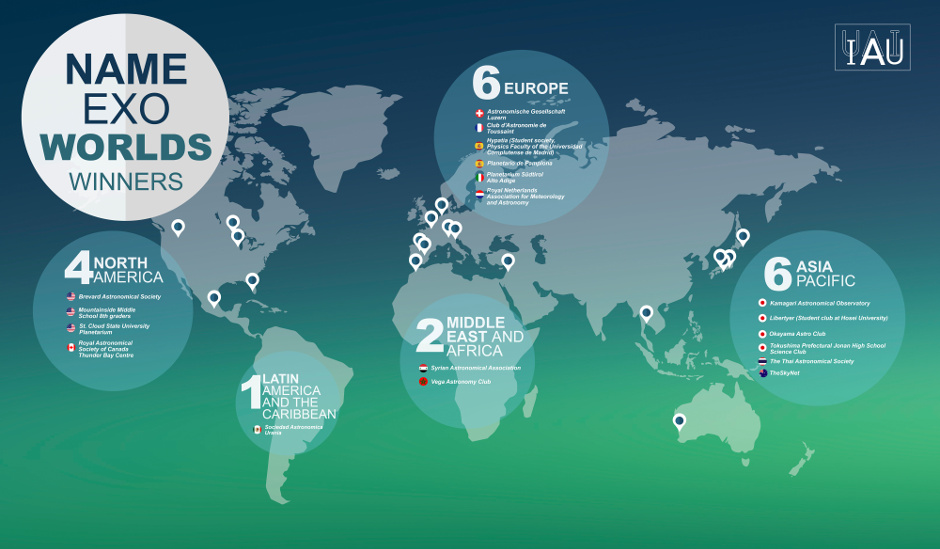 Infographic displaying the locations of the winning proposals for the IAU NameExoWorlds vote are marked on a map of the world. Image credit: IAU.