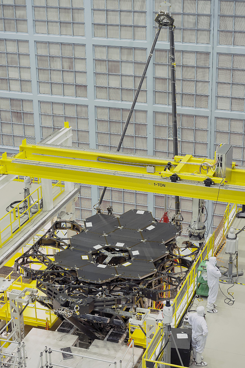 Nine of the James Webb Space Telescope's 18 primary flight mirrors have been installed on the telescope structure. This marks the halfway point in the James Webb Space Telescope's primary mirror installation. Image credits: NASA's Goddard Space Flight Center/Chris Gunn.