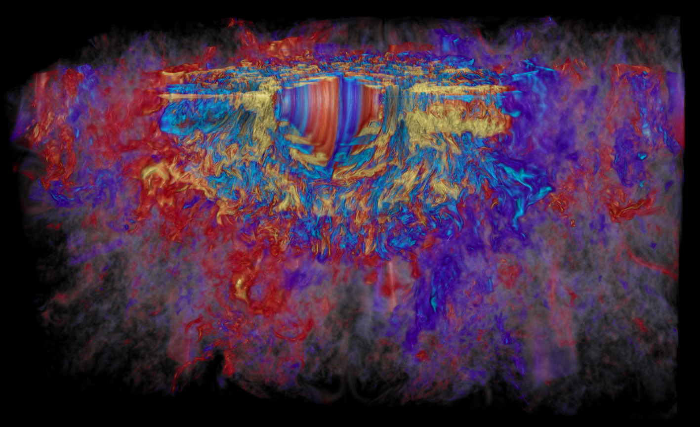 A supercomputer visualisation of the toroidal magnetic field in a collapsed, massive star, showing how in a span of 10 milliseconds the rapid differential rotation revs up the stars magnetic field to a million billion times that of our Sun (yellow is positive, light blue is negative). Red and blue represent weaker positive and negative magnetic fields, respectively. Image credit: Robert R. Sisneros (NCSA) and Philipp Mösta.