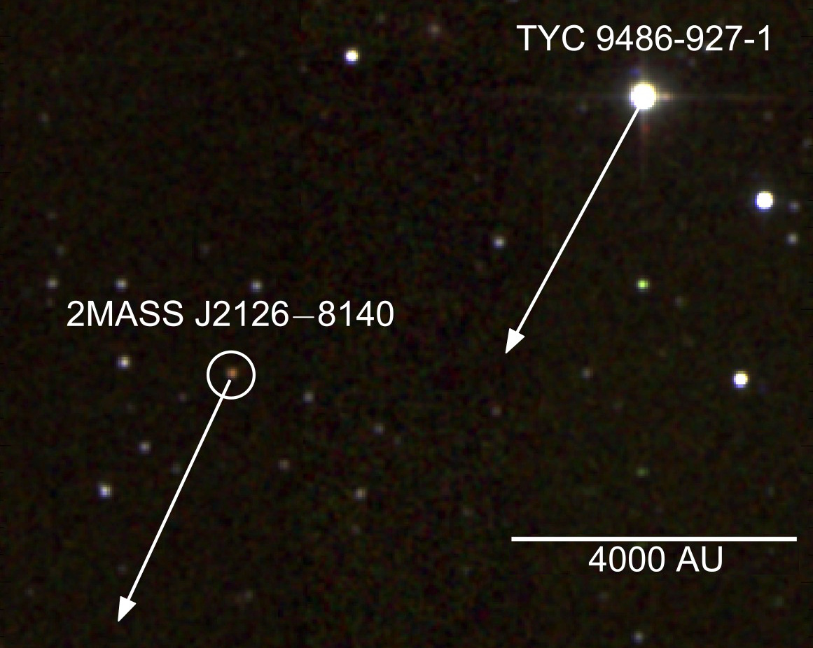 False colour infrared image of TYC9486-927-1 and 2MASSJ2126. The arrows show the projected movement of the star and planet on the sky over 1000 years. The scale indicates a distance of 4000 Astronomical Units (AU), where 1 AU is the average distance between the Earth and the Sun. Image credit: 2MASS/S. Murphy/ANU.