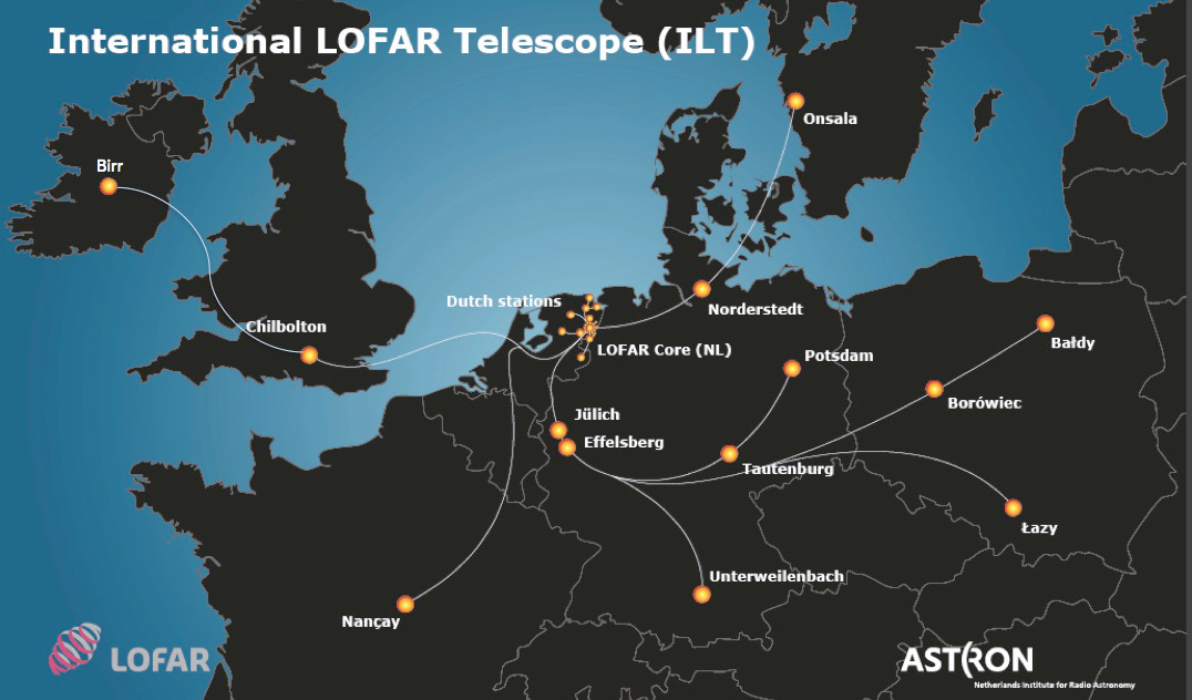 LOFAR is a next-generation radio telescope that is currently being deployed across Europe, with stations already operating in the Netherlands, Germany, Sweden, the UK and France. The impact of LOFAR on a wide range of astrophysical topics will be immense; it will revolutionise studies into transient stars and galaxies; conduct the first studies into the early universe after the Big Bang, complete the most extensive surveys of galaxies at low frequencies; and provide a new insight into the Sun-Earth connection. LOFAR will have applications in geophysics, meteorology, and agriculture. Image credit: LOFAR.