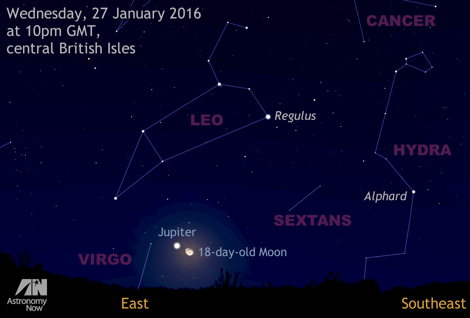 Observers in the BritishIsles and western Europe with a clear sky low to the east around 10pm local time on Wednesday, 27January can see the rising 18-day-old waning gibbous Moon in a close conjunction with Jupiter, the solar system's largest planet. In binoculars and small telescopes you can see the changing configuration of Jupiter's four large Galilean moons (Io, Europa, Ganymede and Callisto) from night to night as the planet steadily draws closer to Earth over the coming weeks. AN graphic by AdeAshford.