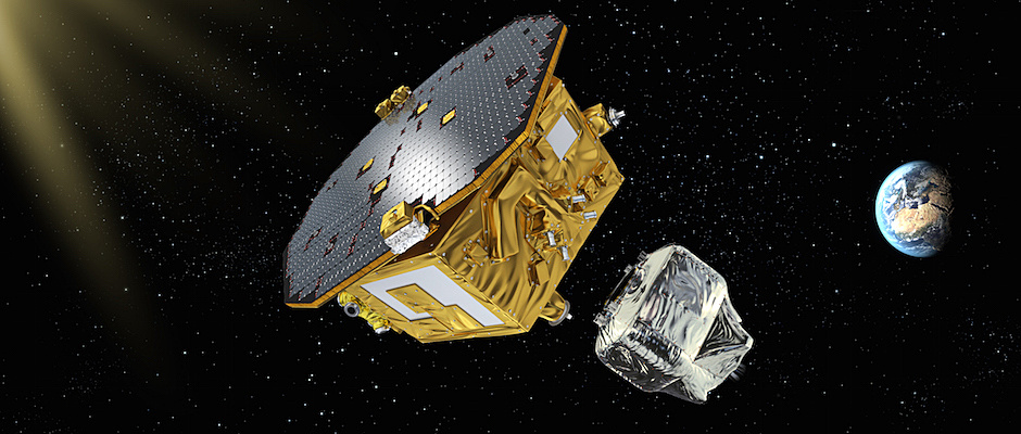 Artist's concept of the LISA Pathfinder science module separation from the spacecraft's propulsion section. Image credit: ESA/C.Carreau.