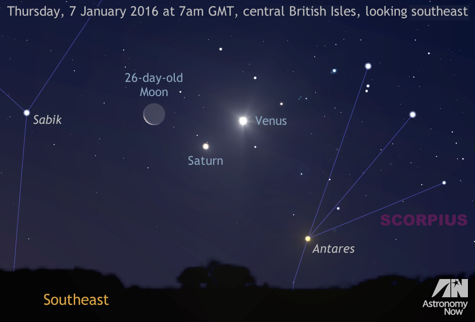 As nautical twilight starts around 7amGMT for the centre of the BritishIsles on Thursday, 7January, the old waning crescent Moon, Venus and Saturn are close enough to fit within the same field of view of a typical 10x50 binocular. Seeing Antares in Scorpius to their lower right will require exceptionally clear skies and an unobscured horizon. Note that the Moon's size has been slightly enlarged for clarity. AN graphic by AdeAshford.