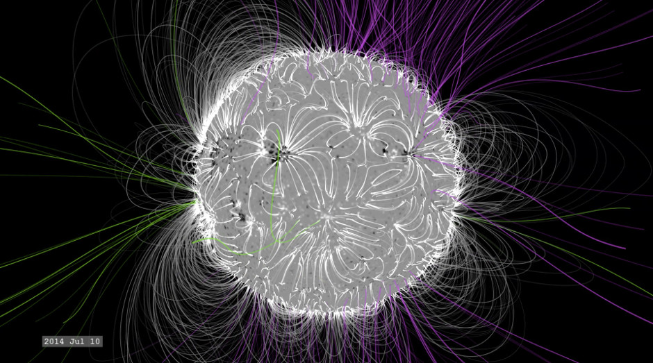 At solar maximum, in July 2014, the structure is much more complex, with closed and open magnetic field lines poking out all over — ideal conditions for solar explosions. Image credit: NASA/SVS.