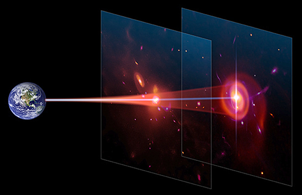 Artist's impression of the power of background galaxies to measure the size of gas clouds compared to the conventional method of using quasars. Image credit: Adrian Malec and Marie Martig.