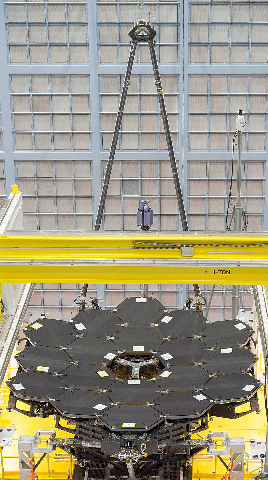 In this rare view, the James Webb Space Telescope's 18 mirrors (with their protective covers on) are seen fully installed on the James Webb Space Telescope structure at NASA's Goddard Space Flight Center in Greenbelt, Maryland. Click the image for a full-size version. Image credits: NASA/Chris Gunn.