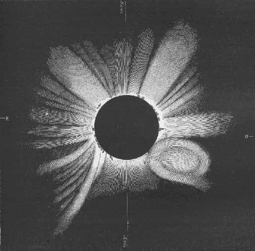 The total solar eclipse of 1860 (shown here in a sketch from the time period) gave scientists their first recorded glimpse of a coronal mass ejection, a cloud of solar material expelled from the Sun at millions of miles per hour. These events are only visible during eclipses — or by using a coronagraph, an instrument that creates an artificial eclipse — because the Sun's bright face drowns out the comparatively faint corona. Illustration credit: G. Tempel.