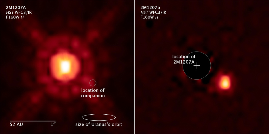 Compass and scale image of exoplanet system 2M1207. Image credit: NASA, ESA, and Z. Levay (STScI).