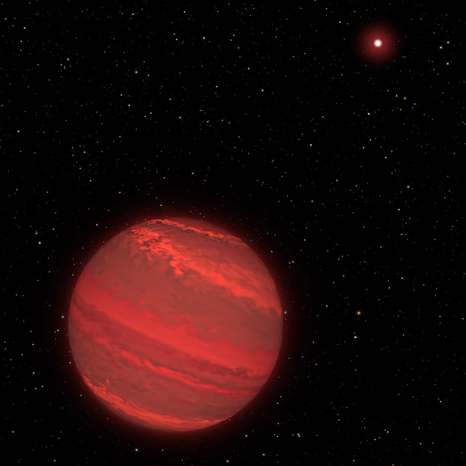 """This is an artist's impression of 2M1207b, a planet 170 light-years away that is four times the mass of Jupiter and orbits 5billion miles from a brown-dwarf companion (the bright red object seen in the background). The rotation rate of this """"super-Jupiter"""" has been measured by studying subtle variations in the infrared light the hot planet radiates through a variegated, cloudy atmosphere. The planet completes one rotation every 10 hours — about the same rate as Jupiter. Because the planet is young, it is still contracting under gravity and radiating heat. The atmosphere is so hot that it rains molten glass and, at lower altitudes, molten iron. Image credit: NASA, ESA, and G. Bacon (STScI)."""