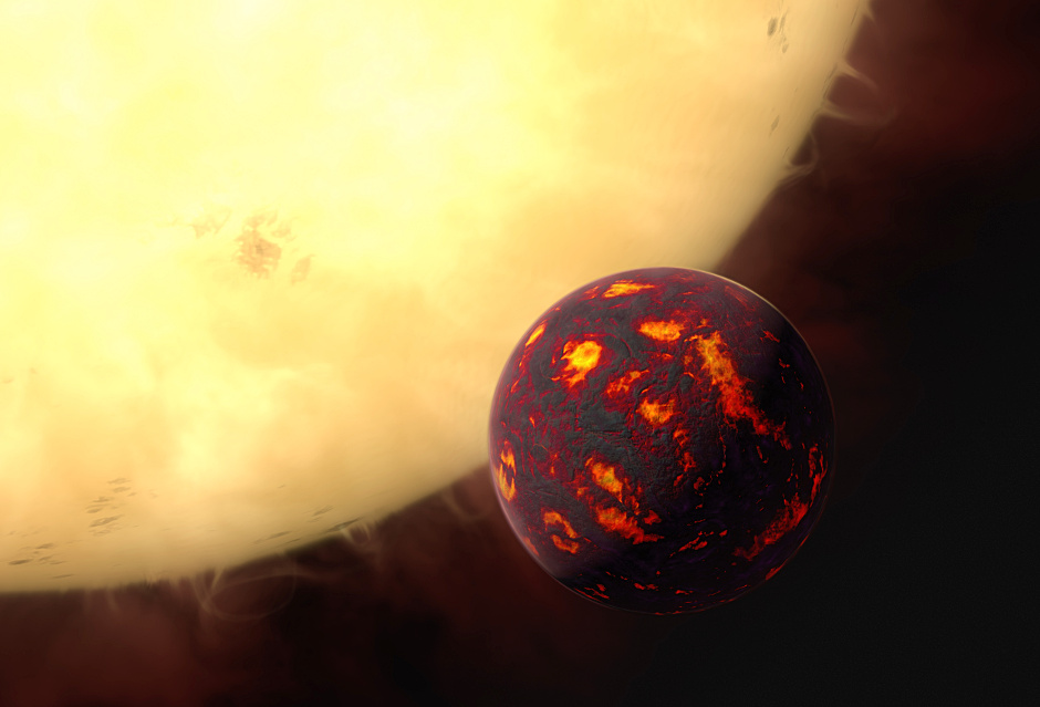 This artist's impression shows the super-Earth 55Cancrie in front of its parent star. Using observations made with the NASA/ESA Hubble Space Telescope and new analytic software scientists were able to analyse the composition of its atmosphere. It was the first time this was possible for a super-Earth. 55Cancrie is about 40 light-years away and orbits a star slightly smaller, cooler and less bright than our Sun. As the planet is so close to its parent star, one year lasts only 18 hours and temperatures on the surface are thought to reach around 2000 degrees Celsius. Image credit: ESA/Hubble, M. Kornmesser.