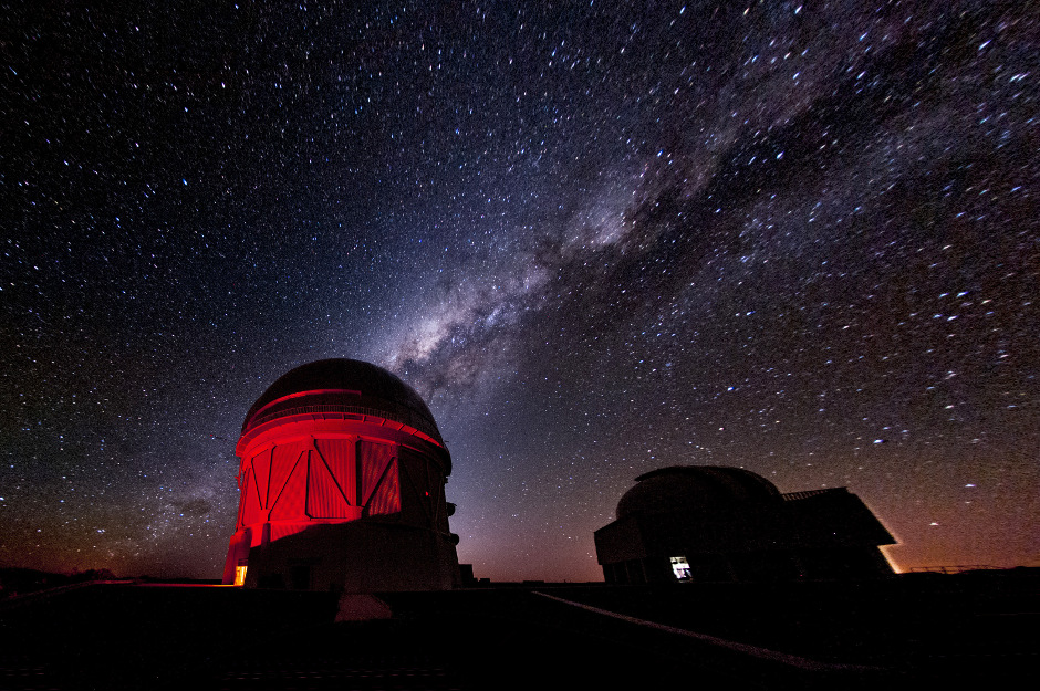 The Dark Energy Survey uses a 570-megapixel camera mounted on the 4-metre Victor M. Blanco Telescope in Chile to image 5,000 square degrees of southern sky. The survey has already discovered more than 1,000 supernovae and mapped millions of galaxies to help us understand the accelerating expansion of our universe. Image credit: Fermilab.