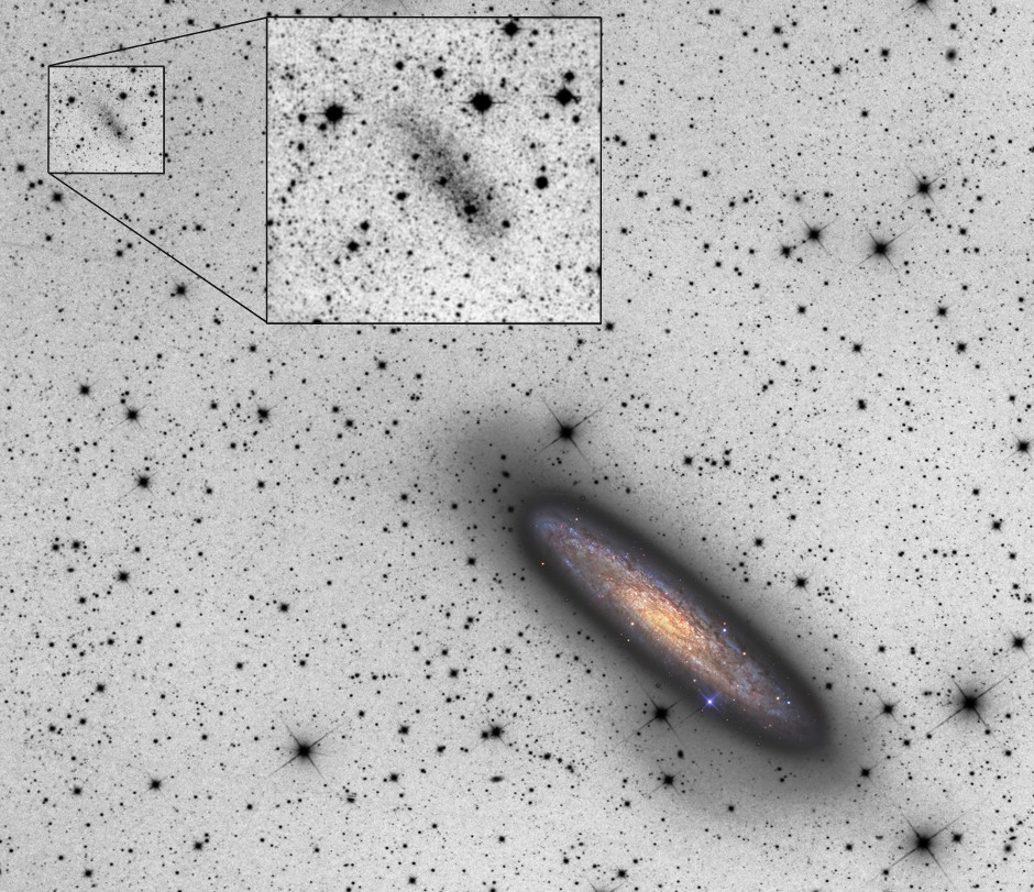 The giant spiral galaxy NGC 253 (shown in color) is accompanied by a newly discovered dwarf galaxy, NGC 253-dw2 (at upper left). The peculiar, elongated shape of the dwarf implies it is being torn apart by the gravity of the bigger galaxy – which in turn shows irregularities on its periphery that may be caused by the mutual interaction. Image credit: © 2015 R.JayGaBany (Cosmotography.com) & MichaelSidonio. Insert image: R.JayGaBany & JohannesSchedler.