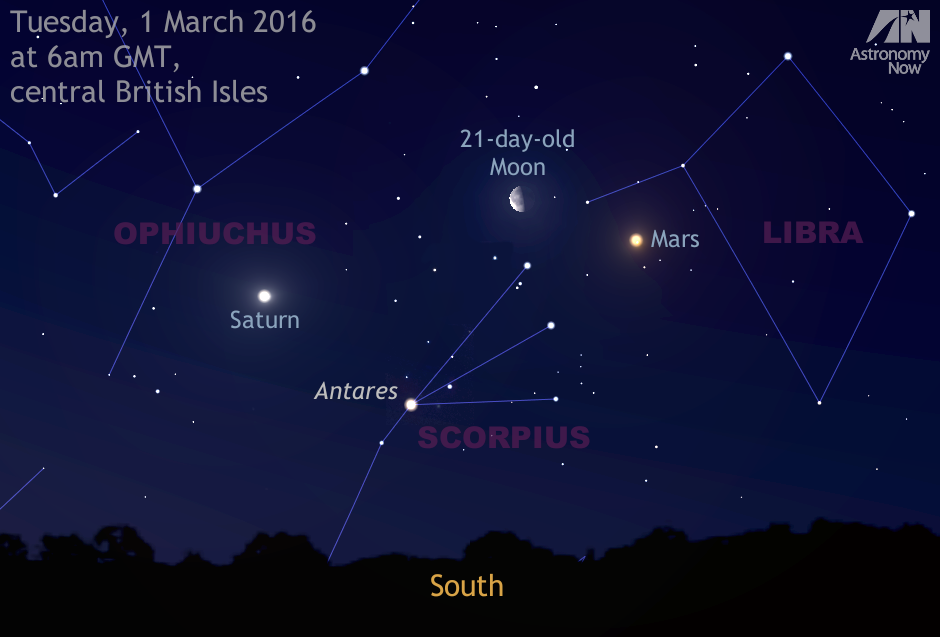 In the pre-dawn twilight of Tuesday, 1March, the 21-day-old waning gibbous Moon acts as a convenient celestial guide to planets Saturn and Mars. For observers in the centre of the British Isles, the best time to see this triple conjunction is shortly before 6amGMT when the trio are highest in the sky to the south. Mars and Saturn lies some 18degrees apart at this time, which is approximately the span of an outstretched hand at arm's length for scale. For early risers prepared to brave the cold yet darker sky at 5:30amGMT, first-magnitude star Antares in the constellation Scorpius helps frame the scene, situated a span of a fist at arm's length to the Moon's lower left. Note that the Moon is slightly enlarged for clarity. AN graphic by AdeAshford.
