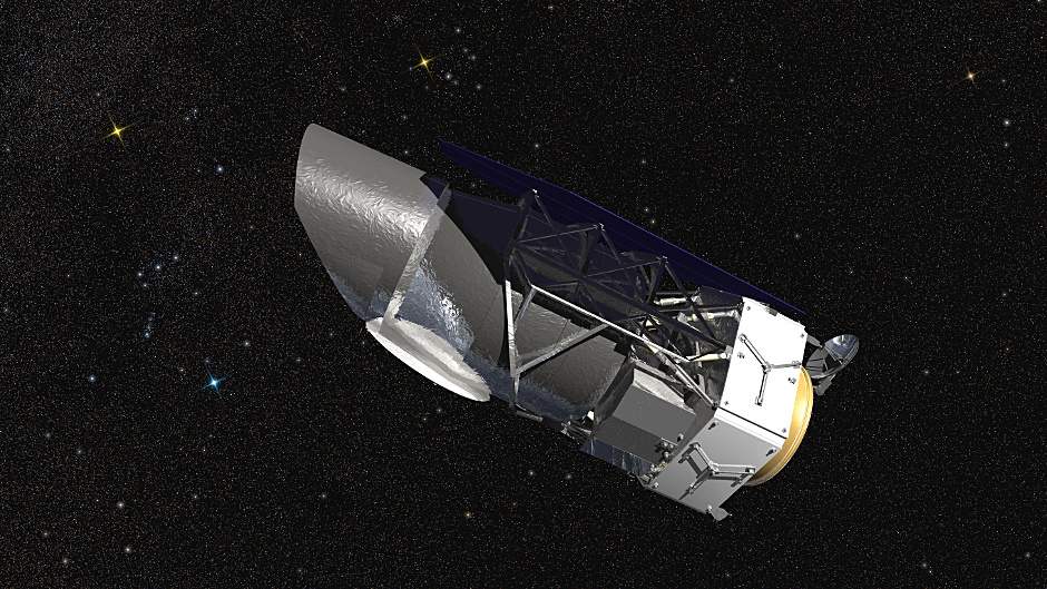 WFIRST, the 2.4-metre aperture Wide Field Infrared Survey Telescope, is shown here in an artist's rendering. It will carry a Wide Field Instrument to provide astronomers with Hubble-quality images covering large swaths of the sky, and enabling several studies of cosmic evolution. Image credit: NASA/Goddard Space Flight Center/Conceptual Image Lab.