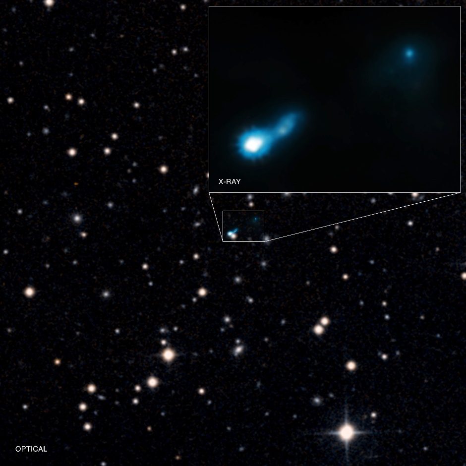 A jet from a supermassive black hole some 11billion light-years away in the northern constellation of Lynx has been found using the Chandra X-ray Observatory. Known as B30727+409, the black hole has an X-ray jet 16million light-years across. The light from this jet was emitted just 2.7billion years after the Big Bang when the universe was only one fifth its current age. This composite image uses X-rays from NASA's Chandra X-ray Observatory with optical data from Digitised Sky Survey. Image credits: X-ray: NASA/CXC/ISAS/A.Simionescu et al, Optical: DSS.