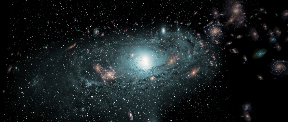 An artist's impression of the galaxies found in the 'Zone of Avoidance' behind the Milky Way. This scene has been created using the actual positional data of the new galaxies and randomly populating the region with galaxies of different sizes, types and colours. Image credit: ICRAR.