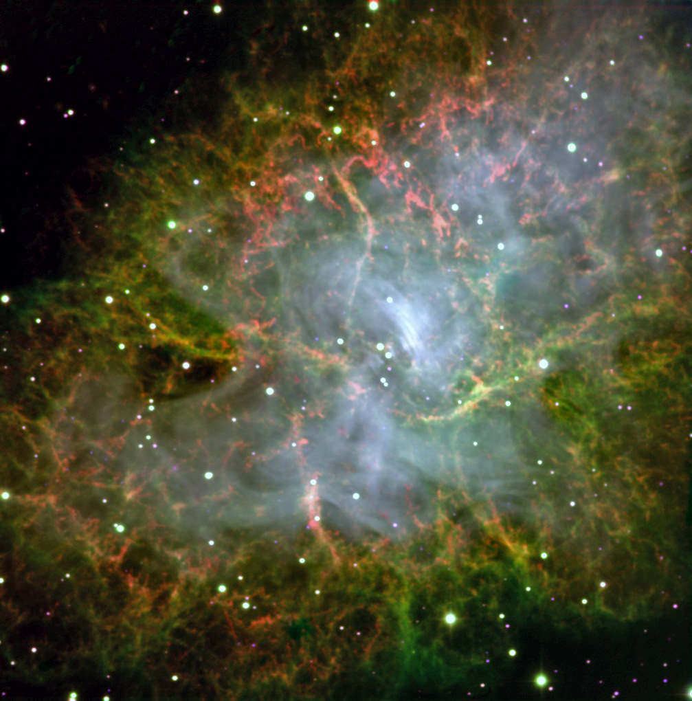 This image of the Crab Pulsar was taken with CHIMERA, an instrument on the 200-inch Hale Telescope at the Palomar Observatory, which is operated by the California Institute of Technology. This pulsar is the end result of a star whose mass collapsed at the end of its life. It weighs as much as our Sun, but spins 32times per second. The instrument focused on the pulsar for a 300-second exposure to produce a colour image. CHIMERA zoomed in on the pulsar and imaged it very fast, then imaged the rest of the scene slowly to create this image. Image credits: NASA/JPL-Caltech.
