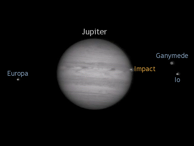 A frame from John Mckeon's astrovideo captured with an 11-inch Schmidt-Cassegrain telescope on 17March showing the flash on Jupiter's limb that lasted less than a second and occurring at 00:18:45UTC according to his calculations. AN annotation by AdeAshford.
