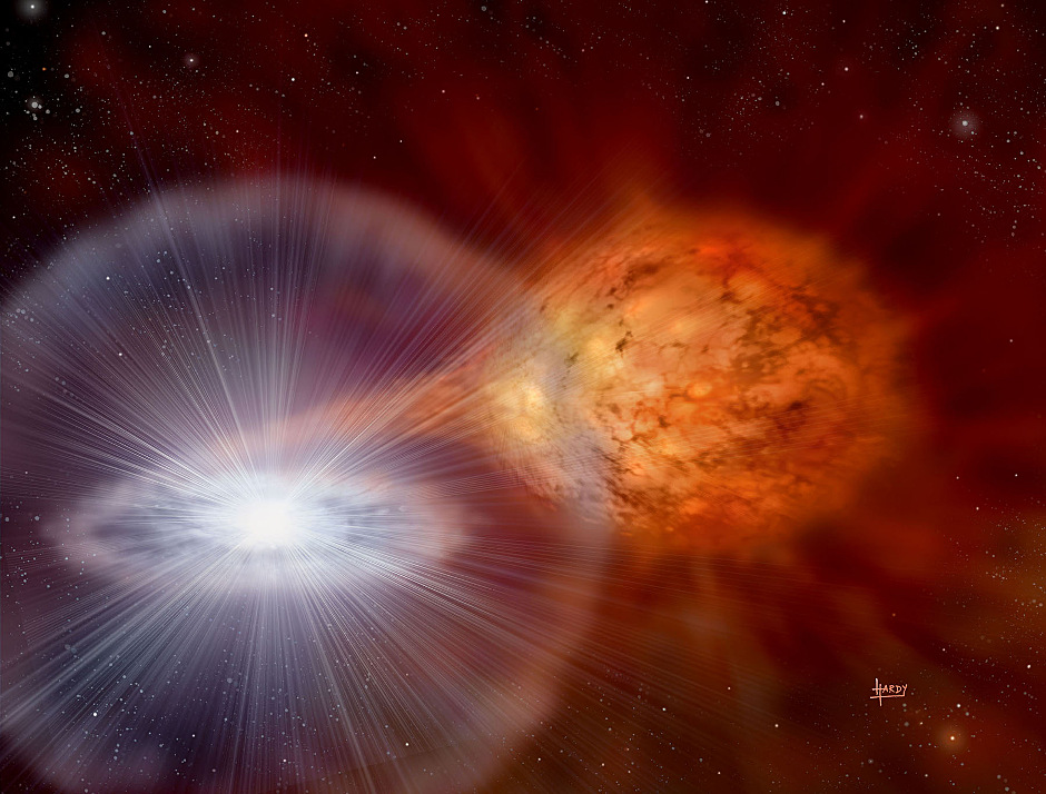 An artist's rendering of a classical nova. Michigan State University research is working to determine if dust from such a stellar explosion billions of years ago made its way to Earth. Image credit: David Hardy of www.astroart.org.