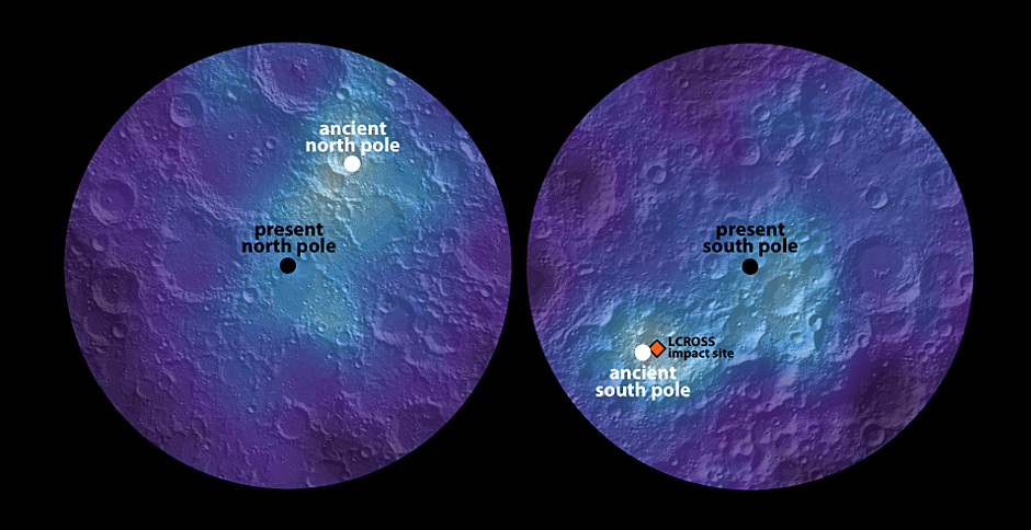 This polar hydrogen map of the Moon's northern and southern hemispheres identifies the location of the Moon's ancient and present day poles. In the image, the lighter areas show higher concentrations of hydrogen and the darker areas show lower concentrations. Illustration credits: James Keane / University of Arizona; Richard Miller, University of Alabama at Huntsville.