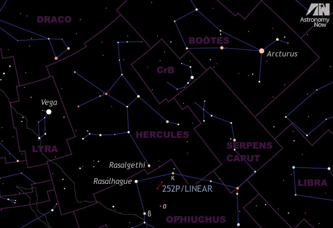 This graphic shows the appearance of the sky to the east-southeast at midnight for the beginning of May as seen from the heart of the BritishIsles. Arcturus, the brightest star in the northern celestial hemisphere, lies in the south almost 60degrees, or three spans of an outstretched hand at arm's length, from Vega in the east. Between and below these readily identifiable stars lie Rasalhague in the constellation of Ophiuchus and Rasalgethi in Hercules — two stars that will fit within a low-power binocular field of view. Rasalhague and Rasalgethi form an equilateral triangle with Comet 252P/LINEAR. See the detailed finder chart for this region below. AN graphic by AdeAshford.