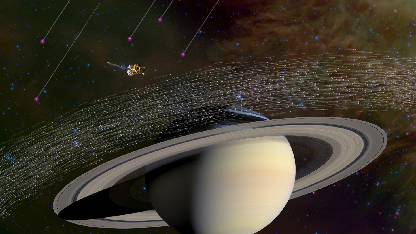 Of the millions of dust grains Cassini has sampled at Saturn, a few dozen appear to have come from beyond our solar system. Scientists believe these special grains have interstellar origins because they moved much faster and in different directions compared to dusty material native to Saturn. Image credit: NASA/JPL-Caltech.