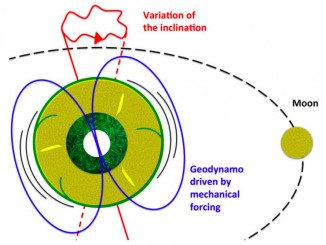 The gravitational effects associated with the presence of the Moon and Sun cause cyclical deformation of the Earth's mantle and wobbles in its rotation axis. This mechanical forcing applied to the whole planet causes strong currents in the outer core, which is made up of a liquid iron alloy of very low viscosity. Such currents are enough to generate the Earth's magnetic field. Illustration credit: © Julien Monteux and Denis Andrault.