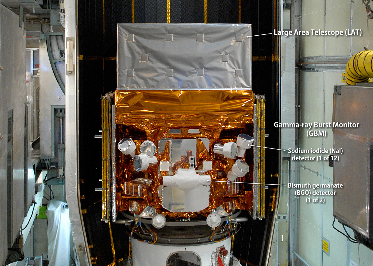 This image, taken in May 2008 as NASA's Fermi Gamma-ray Space Telescope was being readied for launch, highlights the detectors of its Gamma-ray Burst Monitor (GBM). The GBM is an array of 14 crystal detectors. Image credits: NASA/Jim Grossmann.