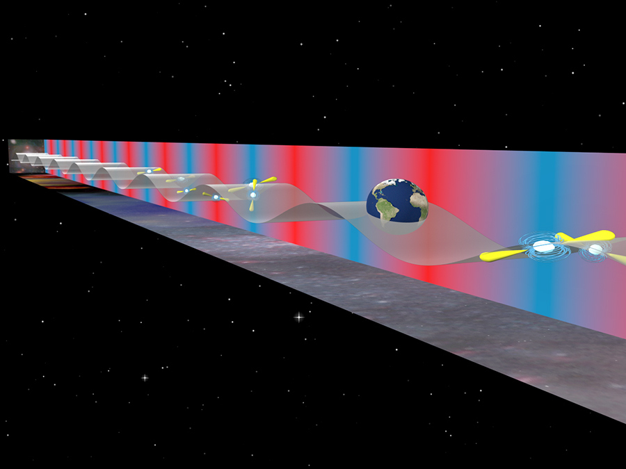 The Earth is constantly jostled by low-frequency gravitational waves from supermassive black hole binaries in distant galaxies. Astrophysicists are using pulsars as a galaxy-sized detector to measure the Earth's motion from these waves. Illustration credit: B. Saxton (NRAO/AUI/NSF).